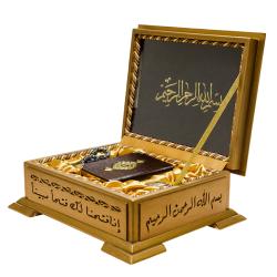Ahşap Kutulu Hediye Kur'An Seti (Kur'An, Tesbih, Koku) - Thumbnail