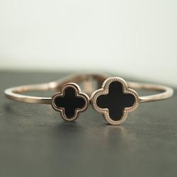 Altın Kaplama Çift Yonca Bayan Bileklik - Thumbnail