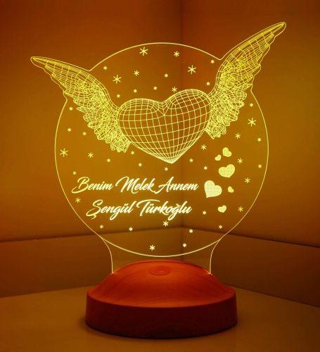 Anneler Günü Hediyesi Kanatlı Kalp 3d Lamba