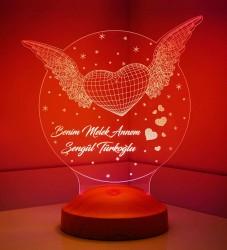 Anneler Günü Hediyesi Kanatlı Kalp 3d Lamba - Thumbnail