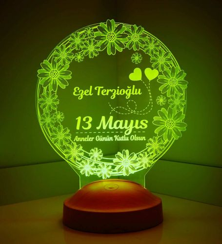 Anneler Günü Hediyesi Papatya 3D Led Lamba