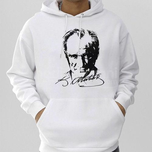 Atatürk Resim ve İmzalı Unisex Kapşonlu Sweatshirt