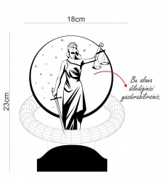 Avukata Hediye Kişiye Özel Adalet Tasarım 3D Led Lamba - Thumbnail