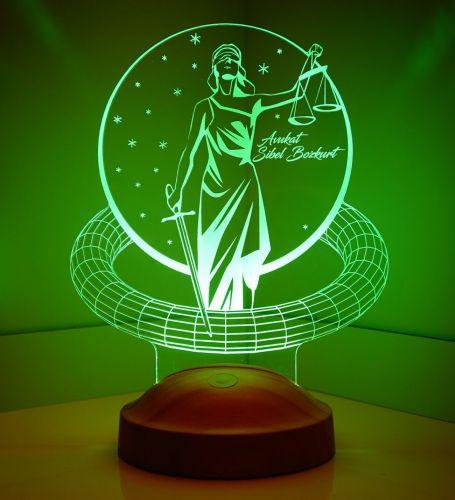 Avukata Hediye Kişiye Özel Adalet Tasarım 3D Led Lamba