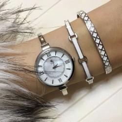 Bayan Kol Saati Bileklik Kombin Gümüş Beyaz - Thumbnail