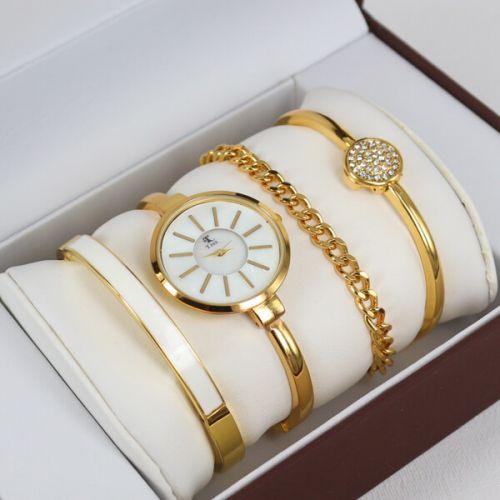 Bayan Kol Saati Üçlü Bileklik Kombin Gold Beyaz