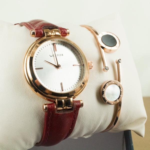 Bayanlara Özel Bronz Renk Kırmızı Kordon Saat ve Love Bileklik