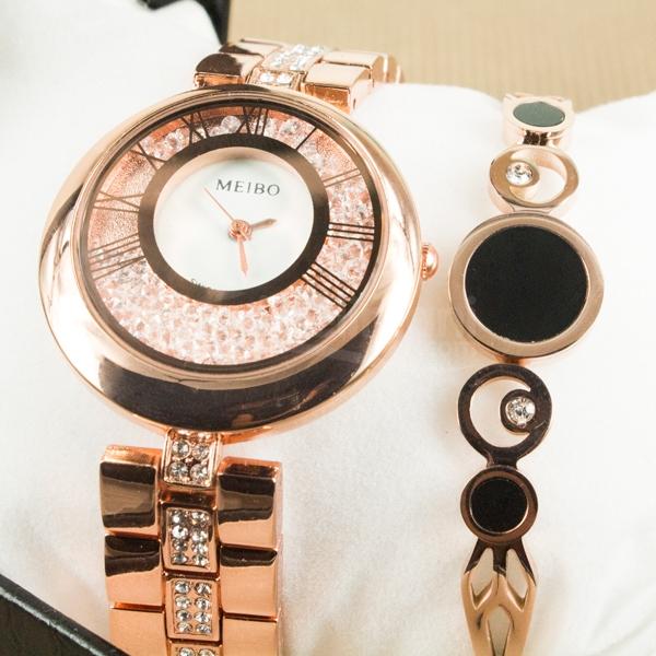 Bayanlara Özel Siyah Detaylı Bronz Renk Saat ve Bileklik Set