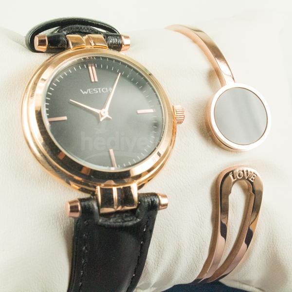 Bayanlara Özel Siyah Tasarımlı Bronz Saat ve Bileklik Set