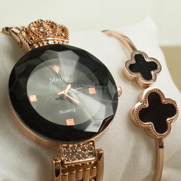Bayanlara Özel Siyah ve Bronz Renkli Saat Bileklik Set