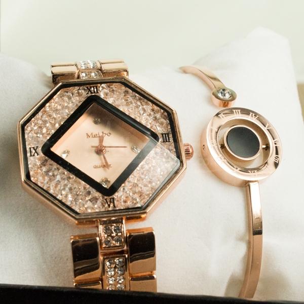 Bayanlara Özel Zirkon Taşlı Siyah ve Bronz Renk Saat Bileklik Set
