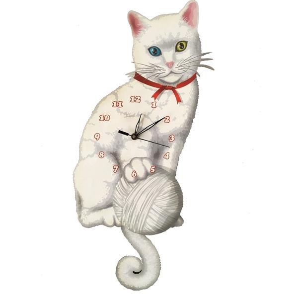 Beyaz Kedi Sallanır Sarkaçlı Duvar Saati