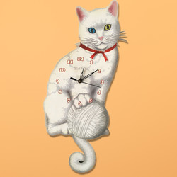 Beyaz Kedi Sallanır Sarkaçlı Duvar Saati - Thumbnail