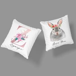 Çiçek Desenli Baş Harf ve Tavşan Tasarımlı İsme Özel 2'li Yastık - Thumbnail