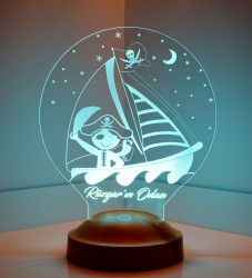 Çocuk Odası Korsan 3D Led Lamba - Thumbnail