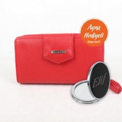 Deri Bayan Cüzdan Kırmızı Kişiye Özel Ayna Hediyeli - Thumbnail