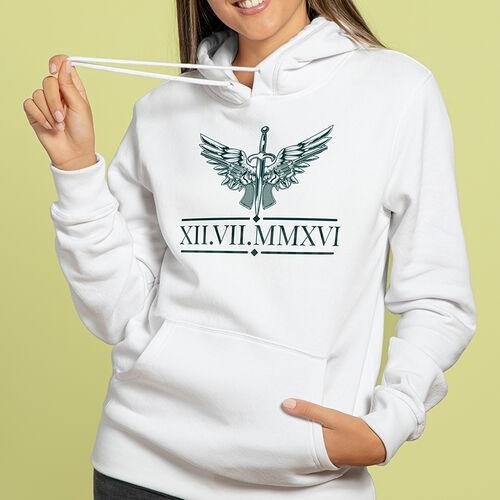Doğum Günü Roma Rakam Tarihli Kişiye Özel Kapşonlu Sweatshirt