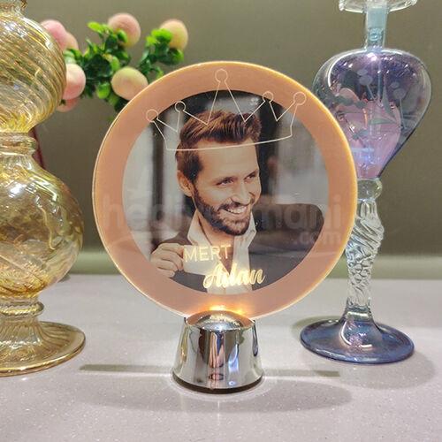 Erkeğe Hediye Fotoğraf ve İsim Baskılı Işıklı Led Lamba