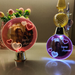 Fotoğraf ve İsim Baskılı Sevgiliye Hediye Işıklı Lamba - Thumbnail