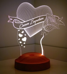 Gül ve Kalp 3D Led Lamba - Thumbnail