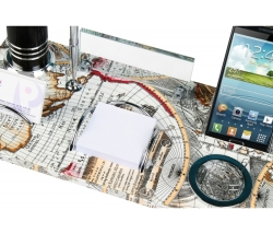 Harita Desenli Deri Masa Üstü İsimlik Set - Thumbnail