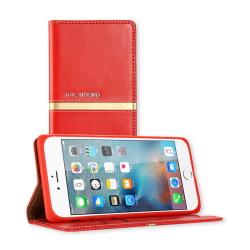 İphone Deri Kılıf Cüzdan Kırmızı - Thumbnail