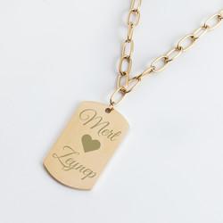 İsim ve Kalp Tasarımlı Altın Kolye - Thumbnail