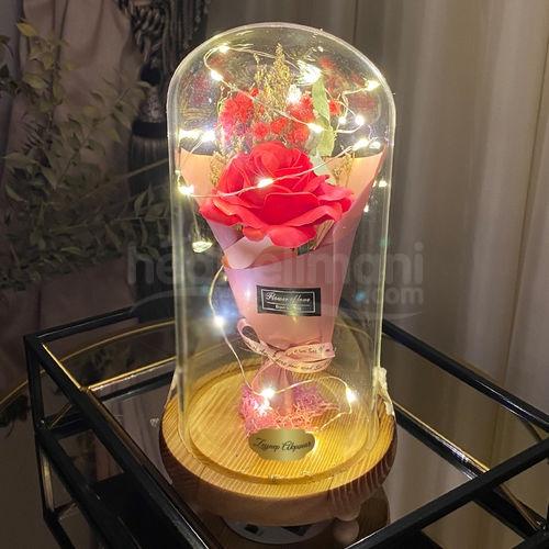 İsimli Işıklı Kırmızı Gül Cam Fanus