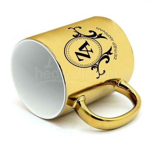 İsme Özel Altın Sarı Ayna Kupa Bardak