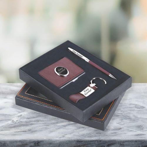 İsme Özel Anahtarlık Kalem Kartvizitlik Seti Kahverengi