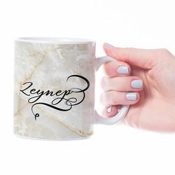 İsme Özel Beyaz Mermer Tasarımlı Kupa Bardak - Thumbnail