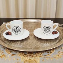 İsme Özel Çiçek Tasarımlı Türk Kahvesi Fincanı - Thumbnail