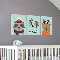 İsme Özel Hayvan Figürlü Erkek Bebek Odası Tablo Seti - Thumbnail