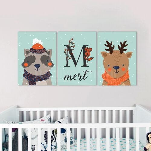 İsme Özel Hayvan Figürlü Erkek Bebek Odası Tablo Seti