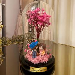 İsme Özel Işıklı Solmayan Çiçek Aşk Fanus Biblo - Thumbnail