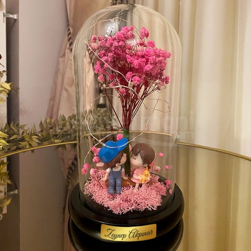 İsme Özel Işıklı Solmayan Çiçek Aşk Fanus Biblo