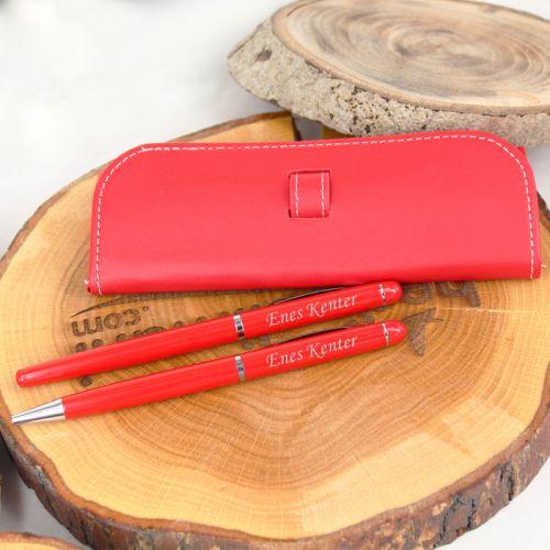 İsme Özel Kalem Seti Kırmızı Sarma Kılıflı