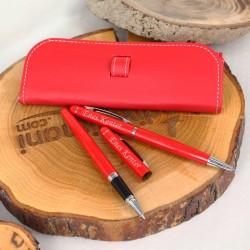 İsme Özel Kalem Seti Kırmızı Sarma Kılıflı - Thumbnail