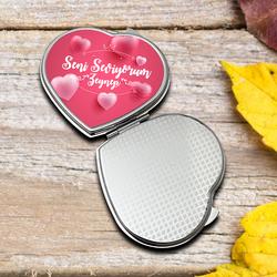 İsme Özel Kalp Mini Ayna - Thumbnail