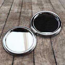 İsme Özel Kalpli Sulu Simli El Makyaj Aynası - Thumbnail