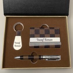 İsme Özel Kartlık Anahtarlık Tükenmez Kalem Hediye Seti - Thumbnail