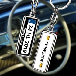 İsme Özel Kral Tacı Tasarımlı Araba Plakalı Anahtarlık - Thumbnail