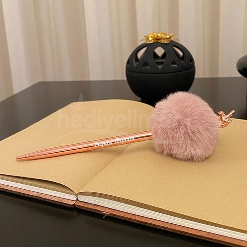 İsme Özel Unicorn Bronz Ponponlu Kalem