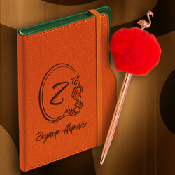 Kadın Öğretmene Hediye Turuncu İsme Özel Peluş Kalem Defter Seti - Thumbnail