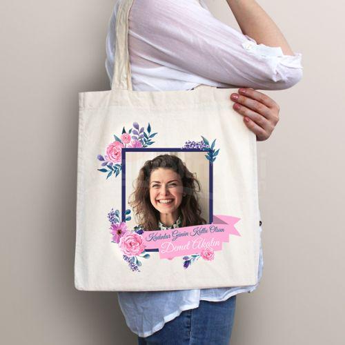 Kadınlar Günü Hediyesi Baharımsın Bez Çanta