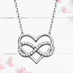 Kalpli Sonsuzluk 925 Ayar Gümüş Kolye - Thumbnail