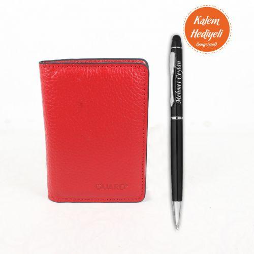 Kırmızı Deri Mini Kartlık Kişiye Özel Kalem Hediyeli