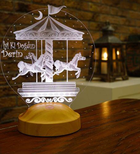 Kişiye Özel 3 Boyutlu Atlı Karınca LED Lamba