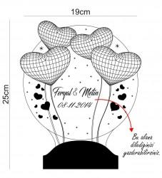 Kişiye Özel 3 Boyutlu Balon Kalpler Küre LED Lamba - Thumbnail