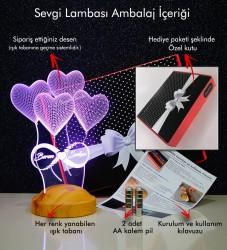 Kişiye Özel 3 Boyutlu Balon Kalpler ve Sonsuzluk Led Lamba - Thumbnail